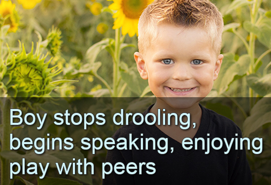 Boy stops drooling, begins speaking, enjoying play with peers